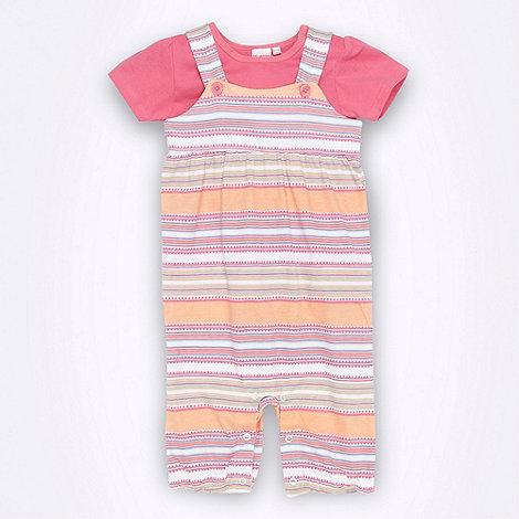 bluezoo - Girl+s pink stripe romper set