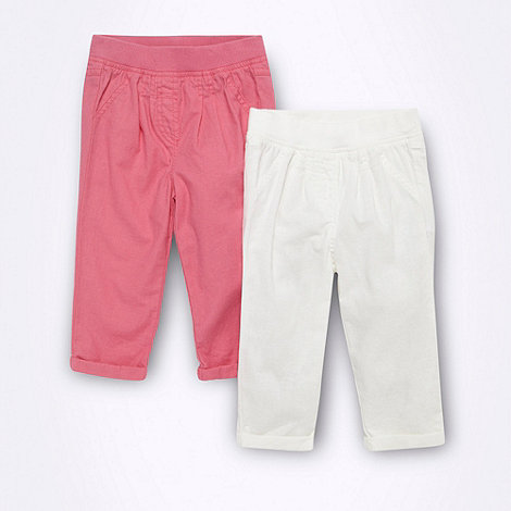 bluezoo - Babies pack of two pink and white linen blend trousers