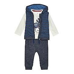 J by Jasper Conran - Baby boys' navy gilet, top and jogging bottoms set