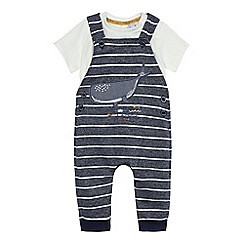 J by Jasper Conran - Baby boys' navy striped dungaree and t-shirt set