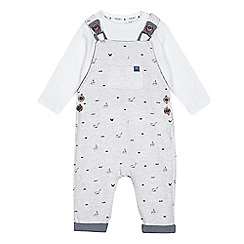 J by Jasper Conran - Baby boys' grey sweat dungarees and shirt