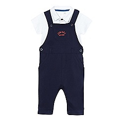 J by Jasper Conran - Baby boys' navy dungarees and white polo shirt set