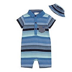 J by Jasper Conran - Baby boys' blue striped polo romper suit and hat set