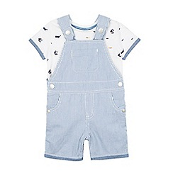 J by Jasper Conran - Baby boys' blue striped dungarees and printed t-shirt set