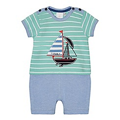 J by Jasper Conran - Baby boys' blue boat applique romper suit