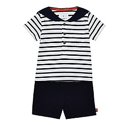J by Jasper Conran - Baby boys' navy striped print t-shirt and shorts set