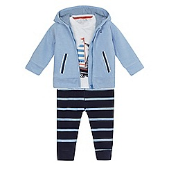 J by Jasper Conran - Baby boys' blue hoodie, boat applique t-shirt and striped jogging bottoms set