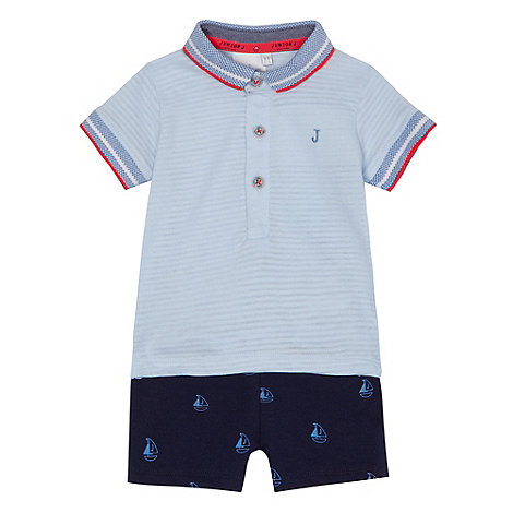 J by Jasper Conran - Baby boys+ light blue polo top and shorts set