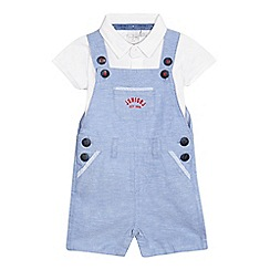 J by Jasper Conran - Baby boys' light blue dungarees and white polo shirt set