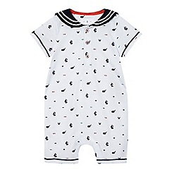 J by Jasper Conran - Baby boys' white nautical print romper suit