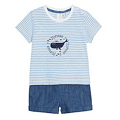 J by Jasper Conran - Baby boys' blue striped whale print t-shirt and shorts set