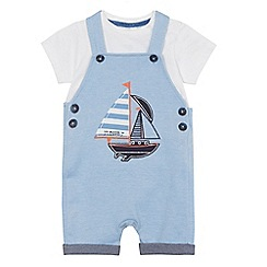 J by Jasper Conran - Baby boys' blue boat applique top and dungarees set