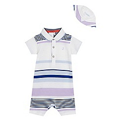 J by Jasper Conran - Baby boys' blue striped romper suit and hat sat