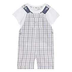 J by Jasper Conran - Baby boys' lilac checked print t-shirt and dungarees set