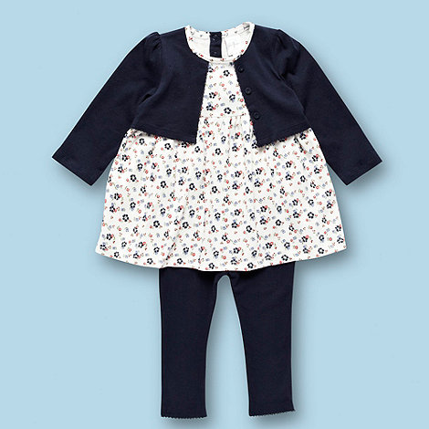 J by Jasper Conran - Designer Babies navy floral tunic cardigan and leggings set