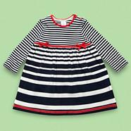 Designer Babies navy graduating striped jersey dress