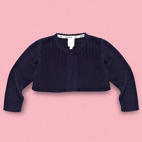 J by Jasper Conran - Designer Babies navy pointelle knit cardigan