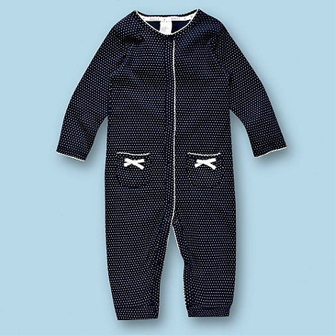 J by Jasper Conran - Designer Babies navy spotted baby grow