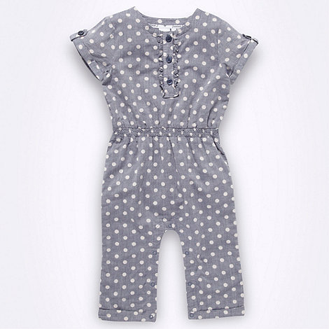 J by Jasper Conran - Designer Babies blue spotted chambray jumpsuit