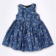 Designer Babies blue floral bow front dress