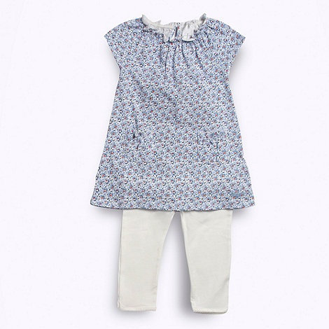 J by Jasper Conran - Designer Babies blue floral jersey tunic and white leggings