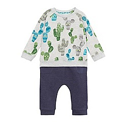 Mantaray - Baby boys' grey cactus print sweater and navy jogging bottoms set