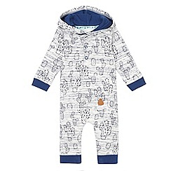 Mantaray - Baby boys' navy cactus print hooded romper suit