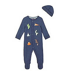Mantaray - Baby boys' applique sleepsuit and hat set