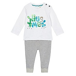 Mantaray - Baby boys' white 'Hug me' print top and grey jogging bottoms set