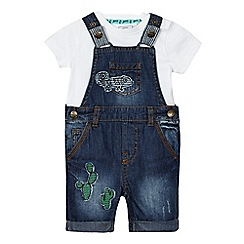 Mantaray - Baby boys' blue denim chameleon applique dungarees and white t-shirt set