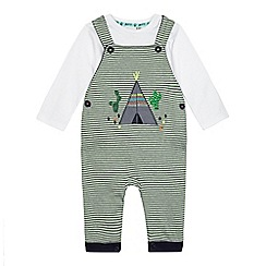 Mantaray - Baby boys' green teepee applique dungarees and top set