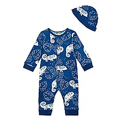 Mantaray - Baby boys' blue lizard print sleepsuit and hat set