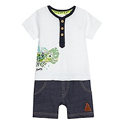 Mantaray - Baby boys' grey chameleon print twofer