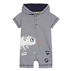 Mantaray - Baby boys' navy striped chameleon applique romper suit