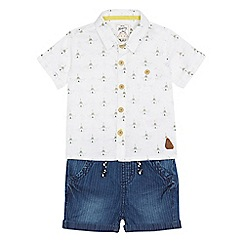 Mantaray - Baby boys' white teepee print shirt and denim shorts set