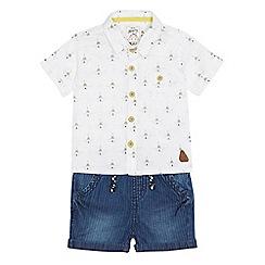 Mantaray - Baby boys' white teepee print shirt and denim shorts set