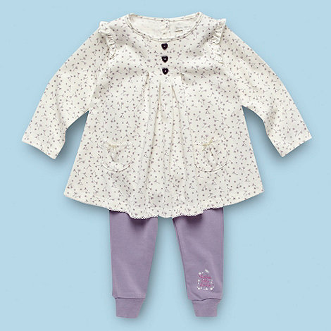RJR.John Rocha - Designer Babies lilac floral tunic and leggings set