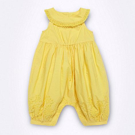 RJR.John Rocha - Designer Babies yellow broderie romper suit