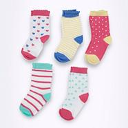 Babies pack of five patterned scalloped socks
