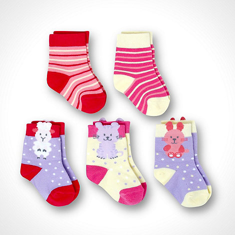 bluezoo - Girl+s multi pack of five novelty socks