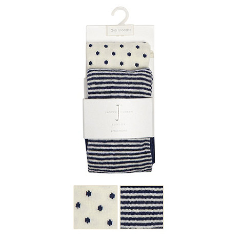 J by Jasper Conran - Designer Babies pack of two cream spotted and navy striped tights