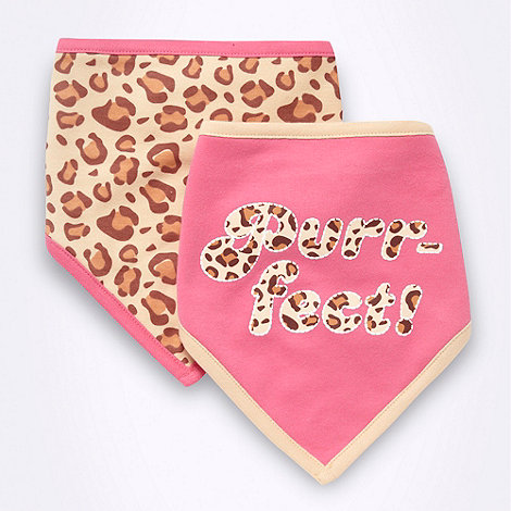 bluezoo - Babies pack of two pink and natural leopard bibs