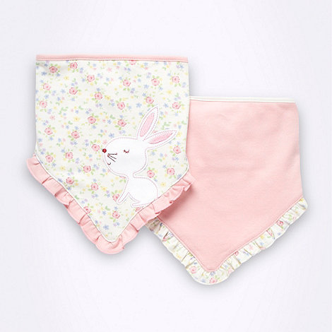 bluezoo - Pack of two Babies light pink bunny bibs