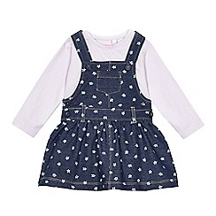 bluezoo - Baby girls' navy and pink pinafore and t-shirt set