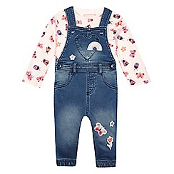 bluezoo - Baby girls' multi-coloured dungarees and top set