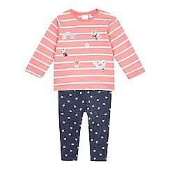 bluezoo - Baby girls' pink and navy top and bottoms set