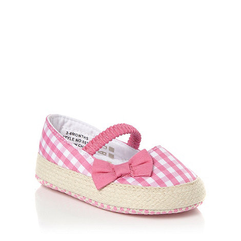 bluezoo - Girl's pink gingham espadrille booties