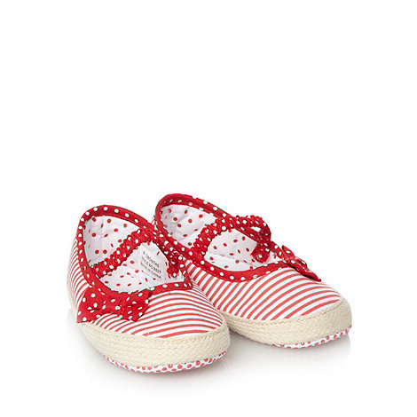 J by Jasper Conran - Designer Babies red striped espadrille booties