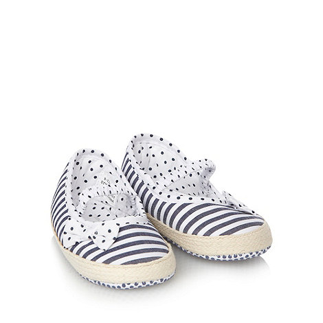 J by Jasper Conran - Designer Babies navy striped espadrille booties