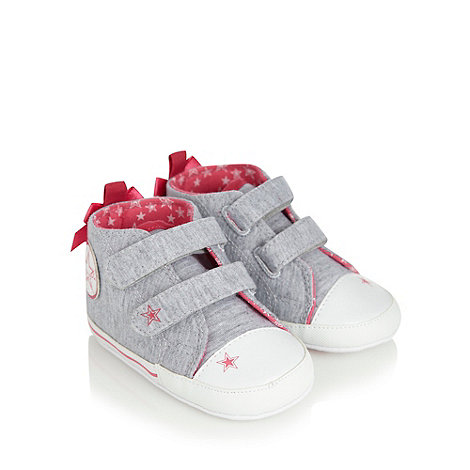 Pineapple - Babies grey bow trimmed booties